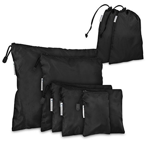 Navaris sacchetti da viaggio per la valigia - set di 7 sacchette porta scarpe vestiti biancheria oggetti astuccio organizer con cordino cerniera nero
