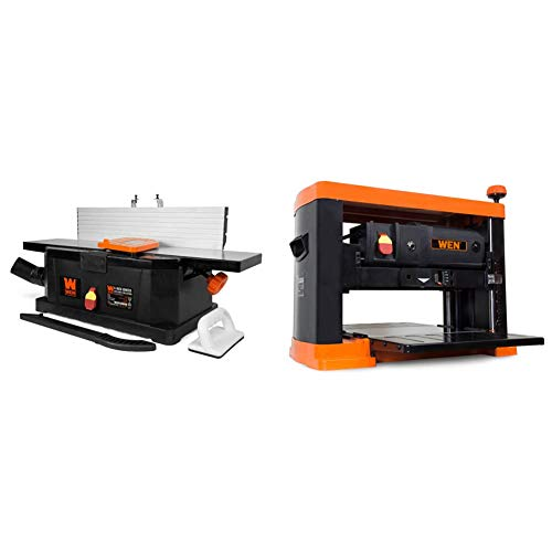 WEN 6559 6-Inch 10-Amp Corded Benchtop Jointer with Filter Bag and Depth Scale & 6552T 13 in. 15 Amp 3-Blade Benchtop Corded Thickness Planer