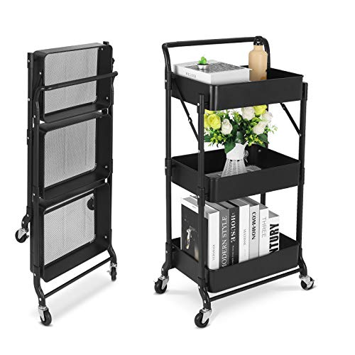 johgee Foldable 3 Tier Metal Utility Rolling Cart, Folding Mobile Multi-Function Storage Trolley Organizer Cart for Home Library Office(Foldable-Black)