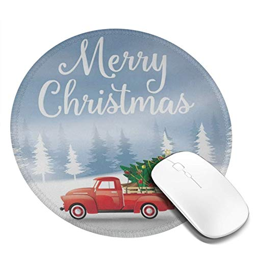 Mini Mouse Pad Round Merry Christmas and Happy New Year with Red Truck and Christmas Tree Computer Mouse Pads Laptop Mousepad Circle Small Cute Personalized Gaming Mouse Mat for Women Kids Girls Boys