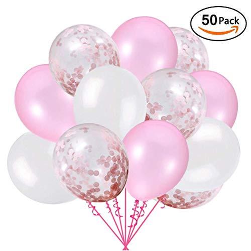 Ohighing 50 Stück Luftballons Rosa Konfetti Helium Ballons Rosa Weiß für Hochzeit Mädchen Kinder Geburtstag Party Deko (Pink + Weiß) 30cm