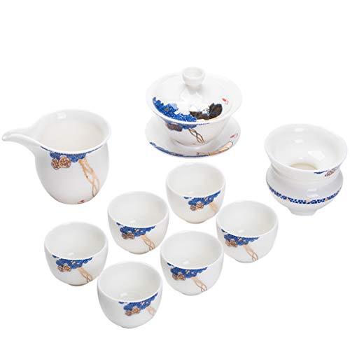 H.L Juego De Té Blanco Regalo De La Porcelana, Sistema Completo De Tazas De Cerámica De Kungfu, para La Oficina De Hogar