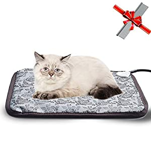 EACHON Heating Pad for Dogs Cats Electric Heated Pet Beds Warming Pet Mats Adjustable Safety Waterproof Chew Resistant Steel Cord (Gray Rose)