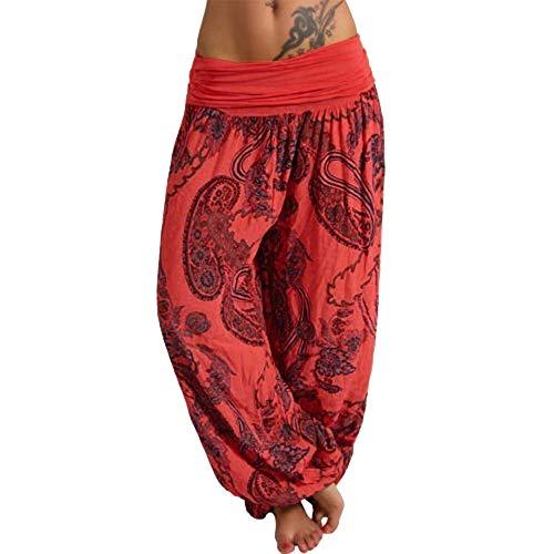 Vertvie Damen Hosen Lang Bedrucken Pumphose Haremshose Sommerhose Yogahose Aladinhose Baggy Harem Stil mit Elastischen Bund(Orange 3, 40)