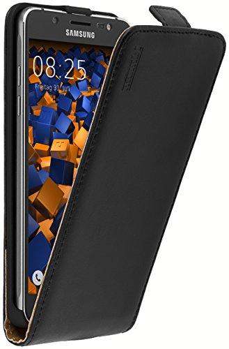 mumbi Echt Leder Flip Case kompatibel mit Samsung Galaxy J5 2016 Hülle Leder Tasche Case Wallet, schwarz