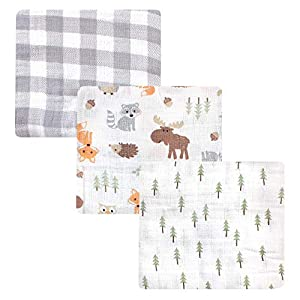 Hudson Baby Unisex Baby Cotton Muslin Swaddle Blankets, Woodland 3-Pack, One Size