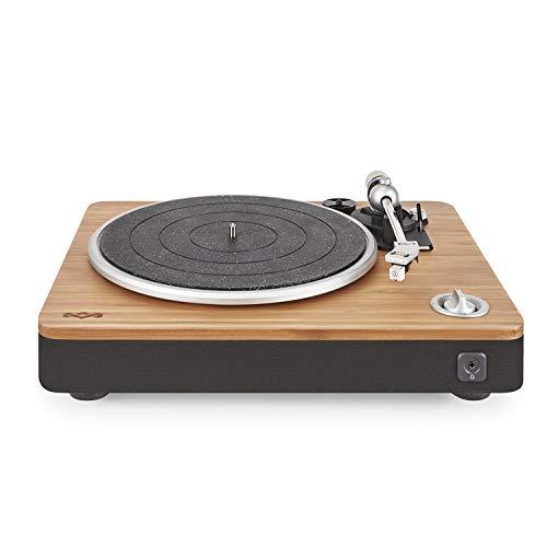House of Marley Stir It Up Turntable Giradischi, 45/33 Giri, Piatto Lega di Alluminio, Braccio in Metallo Rigido, Cartuccia MM Audio-Technica, Registrazione da USB a PC o MAC, Legno/Nero