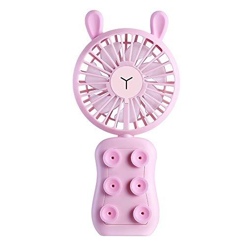 JZUKU Ventilador de Mano Lindo Recargable De Mano del Ventilador De Escritorio De Oficina Ventilador Portátil Personal Enfriamiento Al Aire Libre Plegable del Ventilador Eléctrico (Color : Pink)