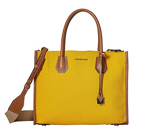 Measures approx. 13 inch (W) x 10 inch (H) x 5 inch (D bottom) Two large open compartments with oversized center zipper pocket as divider Two leather handles with one detachable shoulder strap with 20 inch drop length