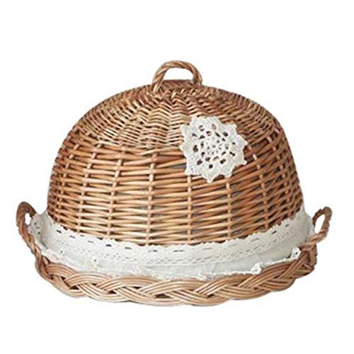 Cubierta de comida para exteriores, picnic, paraguas, plegable, reutilizable, cocina, mimbre, mimbre tejido a mano, color madera redonda, para pan de alimentos
