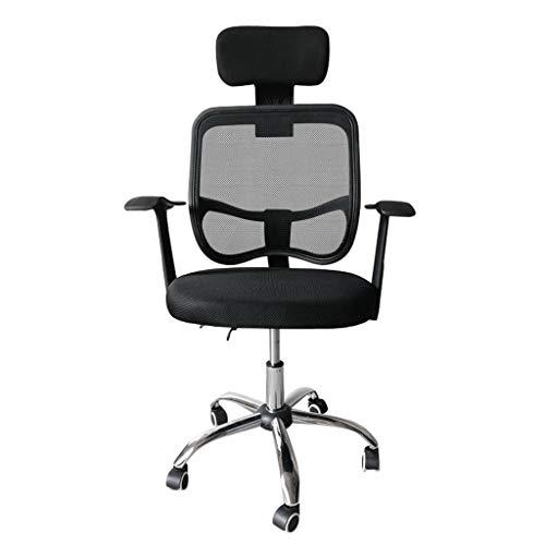 npcs Silla giratoria para videojuegos, para computadora, silla de oficina, para casa, elevación, respaldo de malla, silla giratoria con barandilla, sillas de escritorio, color negro