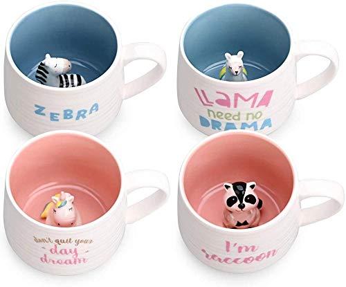 HUIQ Taza de café de cerámica, Tazas de té, Interior de Animal con Mapache, Taza Hecha a Mano de Dibujos Animados para Amigos, compañeros de Cuarto, Familia o niños, Taza de café con Forma de Animal