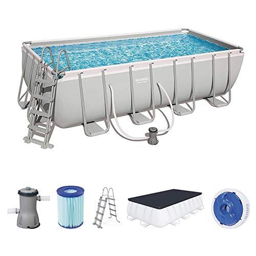 BESTWAY 56721SF - Piscina Desmontable Tubular Power Steel 404x201x100 cm Depuradora de arena de 2.006 litros/hora Con Escalera Diseño Rattan