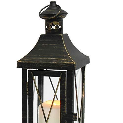 Multistore 2002 2tlg. Laternen-Set H34/50cm, Schwarz/Gold, Laterne Gartenlaterne Kerzenhalter Gartenbeleuchtung Windlicht - 4