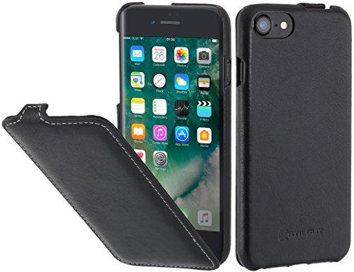 StilGut Leder-Hülle kompatibel mit iPhone SE 2020/iPhone 8/iPhone 7 vertikales Flip-Case, Schwarz Nappa