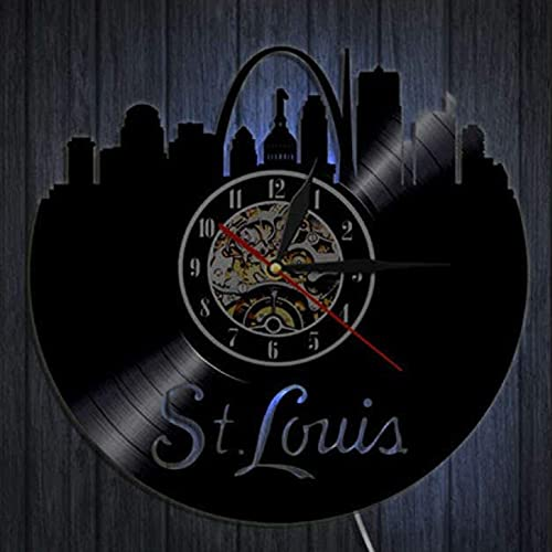 KJSWEI Creativo Retro Disco de Vinilo Reloj de Pared Serie Ciudad St. Louis City Silhouette decoración Reloj de Pared, Led Lights