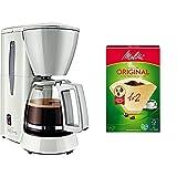 Melitta Cafetera de filtro con jarra de vidrio, Para 5 tazas de café, Single 5, Blanco, M720-1/1 + 502001 Filtros de Café Desechables, Papel, Natural, 1 x 2