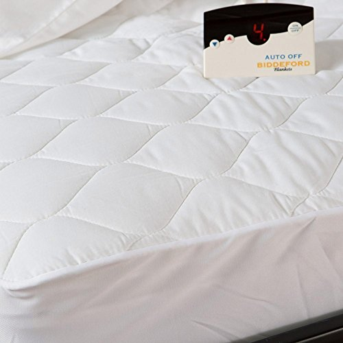 """Biddeford Electric Mattress Pad, Cotton Blend. 4 Oz Quilted """"Skirt"""" With Digital Controller, Queen, White"""