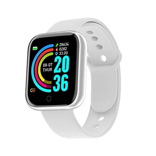 2020 Reloj Inteligente SmartWatch Hombres Mujeres Presión Arterial Pulsera Inteligente Monitor de Ritmo cardíaco Bluetooth Reloj de la Aptitud for el Uso androide del iOS (Color : White)
