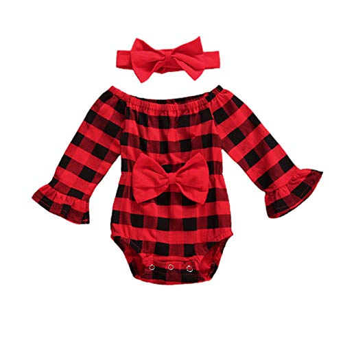 Newborn Christmas Outfit Baby Girl Red Plaid Ruffle Romper Jumpsuit Bodysuit+Headband 2Pcs Outfits Set (12-18 Months)