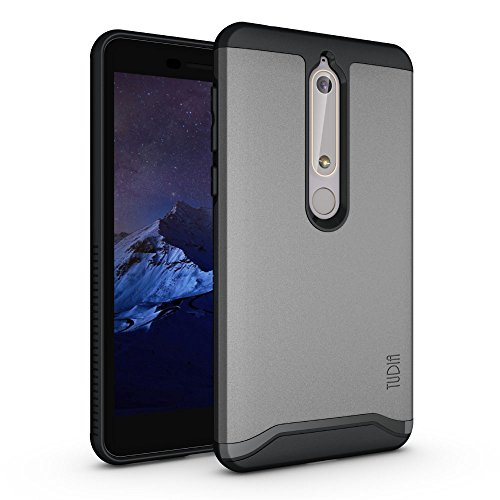 TUDIA Merge Nokia 6.1 Case with Heavy Duty Extreme Protection/Rugged but Slim Dual Layer Shock Absorption Case for Nokia 6.1 (2018) (Metallic Slate)
