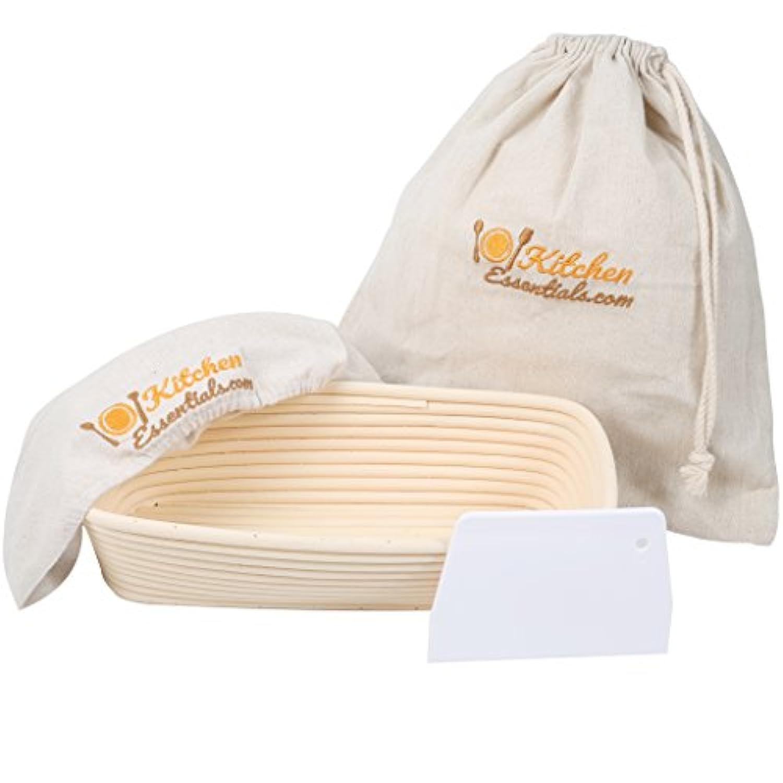 4-In-1 Oval Bread Proofing Basket Set – 12 inch Banneton Proofing Basket + Liner + Scraper + Linen Bag – Rectangle Brotform Proofer Bowl for Artisan Bread, Sourdough, Loaves & Others