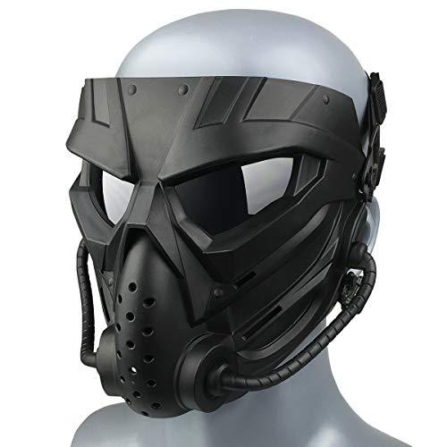 Wwman Paintball Airsoft Maske für den Außenbereich, verschleißfeste Taktische CS Cosplay Vollgesichtsmaske mit Antibeschlaggläsern, für Erwachsene Jugendliche Halloween (WWZL3-BK-G)