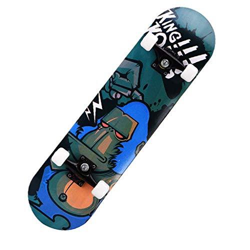 CEspace Top Stained Blue 31.5 inch Pro Skateboard,Trickboard - 7-Ply Canadian Maple Skateboards, Tricks Skateboards for Teens Beginners Girls Boys Kids Adults