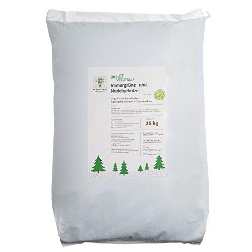 BioVegetal organisch-mineralischer Immergrüne Pflanzen und Tannen-Dünger mit Guano und Langzeitwirkung durch Fixierung der Nährstoffe durch Ton, 25 kg Sack