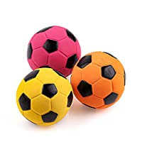 """❤ Made with Non-Toxic Latex Rubber ❤ Soft Squeeze Squeak, Bouncy Soccer Ball, No Stuffing ❤ Dogs Interactive Chew Sound and Outdoor Indoor Fetch Play ❤ Diameter: 7cm/2.7"""" Weight: 25g /PC 3PCS Weight: 82g ❤ Suitable for Medium Dogs - 11~30kg(24~66lb)"""