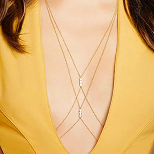 Jovono - Cadena de cuerpo simple, sexy, collar de bikini arnés para el cuerpo, perla, cadena para mujeres y niñas, color dorado