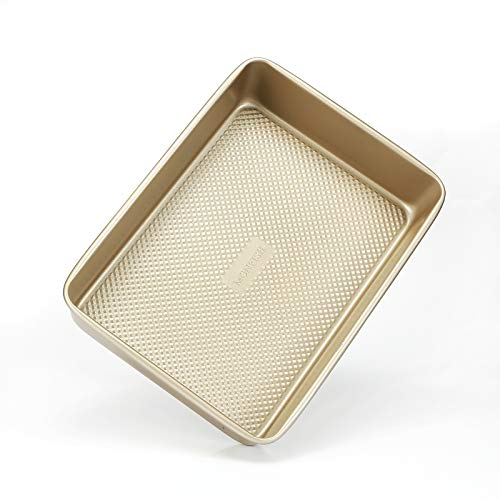 Molde rectangular para tartas - Molde para hornear de acero al carbono de 23 x 33 cm con acabado texturizado - Molde hondo antiadherente – Molde para hornear panecillos, brownies, lasaña, galletas
