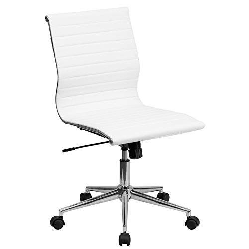 Flash Furniture Mid-Back Armless White Ribbed LeatherSoft Swivel Conference Office Chair, BIFMA Certified