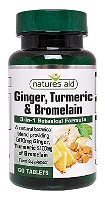 Natures Aid Ginger Turmeric and Bromelain, 3-in-1 Botanical Formula, Vegan, 60 Tablets