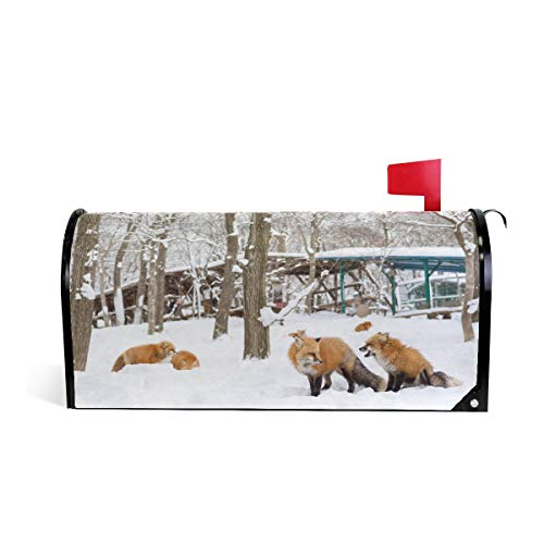 Wamika Fox en Hiver Forêt Bienvenue magnétique Boîte aux Lettres Boîte aux Lettres Coque stratifiées, Animal Snow Arbre Taille Standard Makover Mailwrap Garden Home Decor 52.6x45.8cm Multicolore