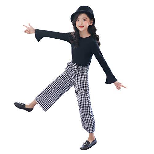 Proumy 2pcs Baby Kleidung Set Neugeborenen Mode Baby Mädchen Kleidung Anzug langärmelige T-Shirt-Top + Plaid-Stil Hosen Kinderkleidung(Schwarz,Recommended Age:11-12 Years)