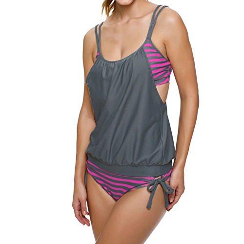 Lazzboy Tankini Damen Bauchweg Bademode Set S-XXXL,Zweiteilig Push up mit Einstellbarer Bikinislip Tankini Top Soft Cups(Grau,XL)