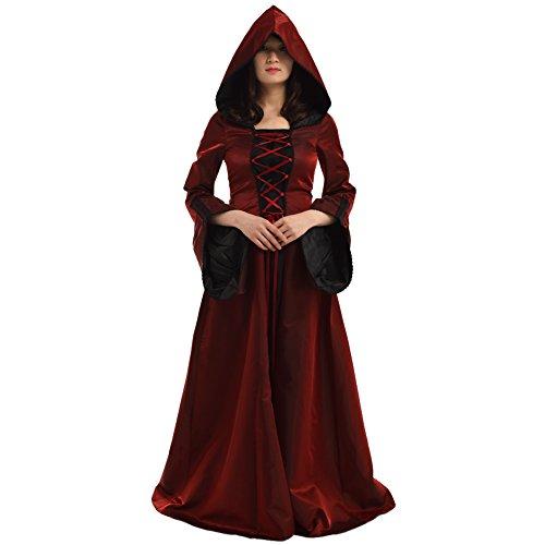 BLESSUME Gothic Damen Mittelalterlich Renaissance Mit Kapuze Kleid Rock (Rot, S)