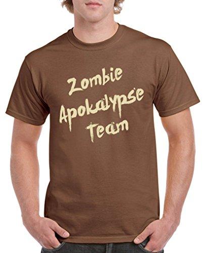 Comedy Shirts - Zombie Apokalypse Team - Herren T-Shirt - Braun/Beige Gr. M