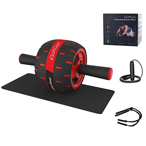 Abs Wheel Roller for Abs Exercise Workout Fitness -Ab Wheel Roller with Resistance Band and Jump Rope -Perfect Home Gym Equipment for Men Women Abdominal Exercise-Black