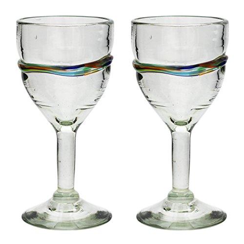 Vaso de Vino Artesanal - Tamaño medio – Vidrio Reciclado – Raya...