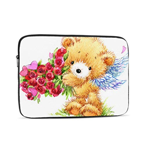 MacBook 13 Inch Case Cute Drawn Teddy Bear Flowers Mac 15 Inch Case Multi-Color & Size Choices10/12/13/15/17 Inch Computer Tablet Briefcase Carrying Bag