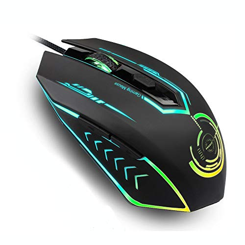 Gaming Mouse Wired, UHURU Gaming Mouse with 6 Programmable Buttons, 4 Adjustable DPI Up to 4800, 7 RGB Backlit Modes Ergonomic MMO Rechargeable Gaming Mouse for PC Laptop