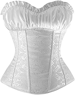 SYMG Women's Corsets, Court Corsets, Strapless Zipper Corsets with Thongs, Ladies Sexy Body Shapers, Waistbands for Wedding Dresses shapewear women (Size : XXXXL)