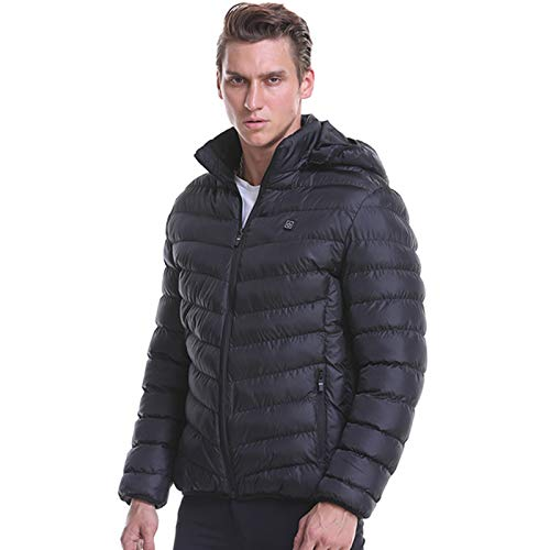 Padaleks Men Heated Jackets Winter Warm Coats Smart USB Electric Charging Heating Puffer Down Jackets with Detachable Hood (Power Bank NOT Included)
