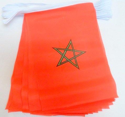 AZ FLAG FAHNENKETTE MAROKKO 6 Meter mit 20 flaggen 21x14cm - MAROKKANISCHE Girlande Flaggenkette 14 x 21 cm
