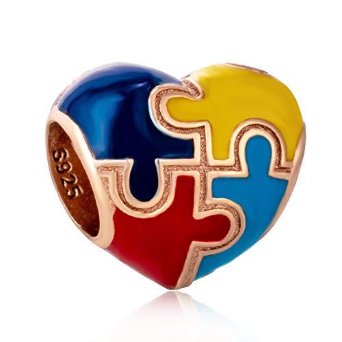 Abalorio con forma de corazón para autismo, de plata de ley 925, compatible con todas las pulseras y collares de estilo europeo