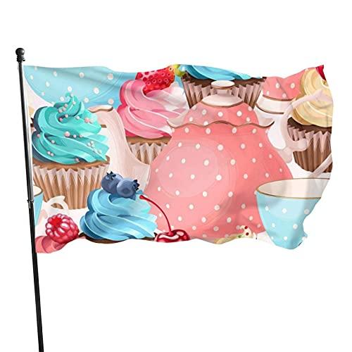 GOSMAO Bandera de jardín Pintura Taza de té Cupcake Color Vivo y Resistente a la decoloración UV Bandera de Patio Cosida Doble Bandera de Temporada Banderas de Pared 150X90cm