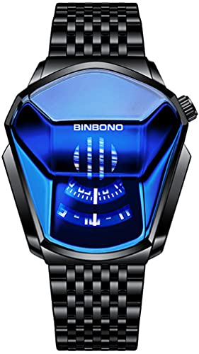 Simple Fashion Cool Locomotive Student Men's Casual Waterproof Stainless Steel Quartz Wristwatch Geometric Shape Case Creative Men's Digital Watch (Blue Black Strap)