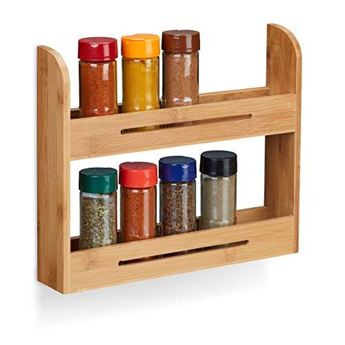 Relaxdays Gewürzregal stehend, Kräuterregal aus Bambus, kleiner Gewürzhalter für die Küche, HBT: 26 x 31 x 6 cm, natur
